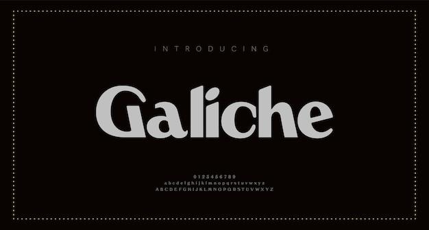 Lettere dell'alfabeto eleganti. lettering classico minimal fashion designs. caratteri e numeri sans serif moderni di tipografia. Vettore Premium