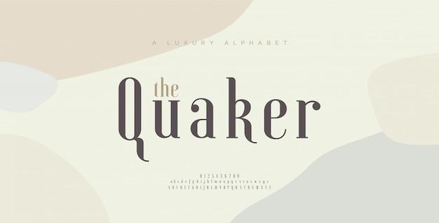 Carattere e numero eleganti delle lettere di alfabeto. disegni classici di moda minimale. caratteri tipografici maiuscoli e minuscoli. Vettore Premium
