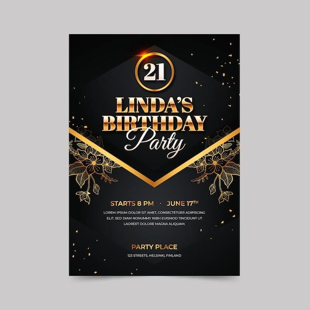 Modello di invito di compleanno elegante Vettore Premium