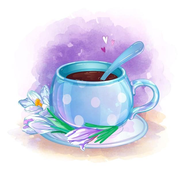 Un'elegante tazza da tè blu su un piattino con crochi bianchi. Vettore Premium