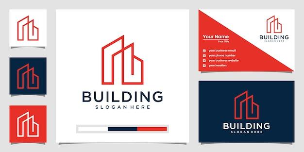 Elegante edificio logo con il concetto di arte di linea. città edificio astratto per l'ispirazione del logo. disegno del biglietto da visita Vettore Premium