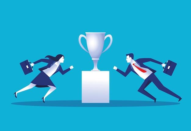 Lavoratori eleganti delle coppie di affari con l'illustrazione dei caratteri della tazza del trofeo Vettore Premium