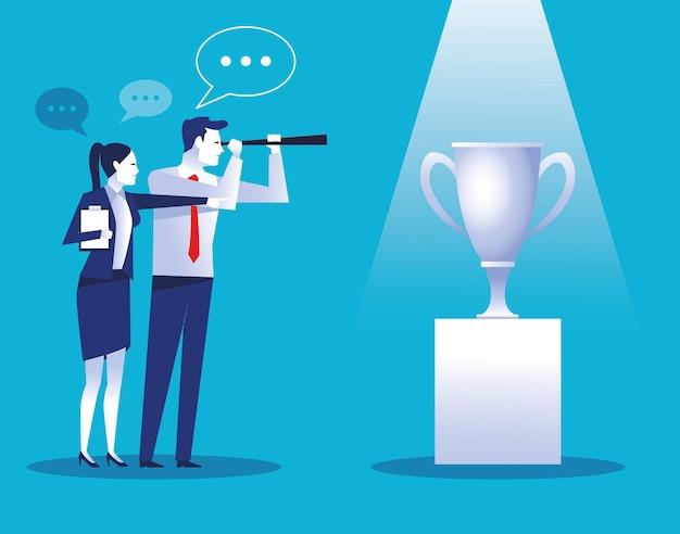 Lavoratori eleganti delle coppie di affari con l'illustrazione della tazza del trofeo Vettore Premium
