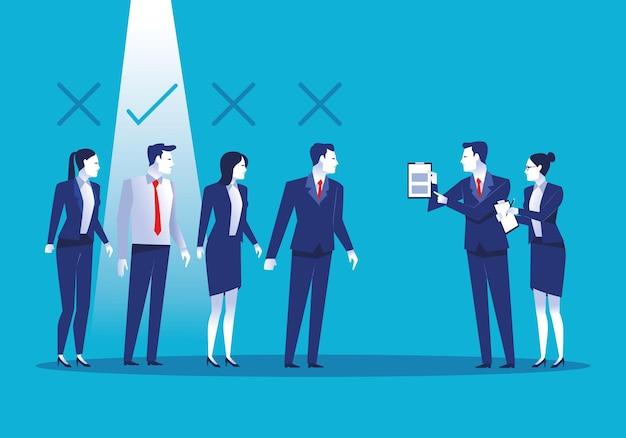 Elegante business persone lavoratori avatar caratteri illustrazione Vettore Premium