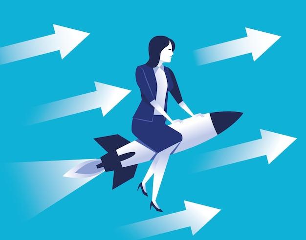 Operaio elegante della donna di affari che vola nel razzo con l'illustrazione delle frecce Vettore Premium