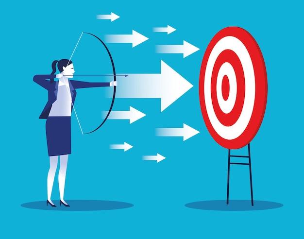 Operaio elegante della donna di affari con l'illustrazione del carattere dell'obiettivo e delle frecce Vettore Premium