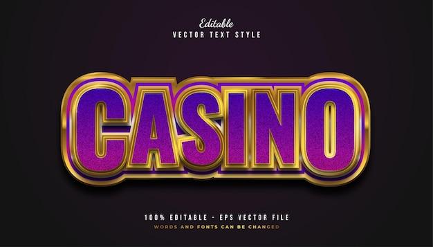 Elegante testo in stile casinò in viola e oro con effetto in rilievo Vettore Premium
