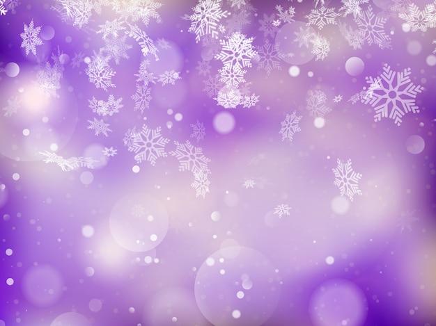 Elegante sfondo di natale con fiocchi di neve e posto per il testo. Vettore Premium