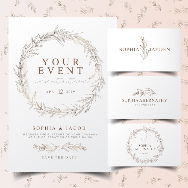 Elegante carta di invito e logo corona di eucalipto Vettore Premium