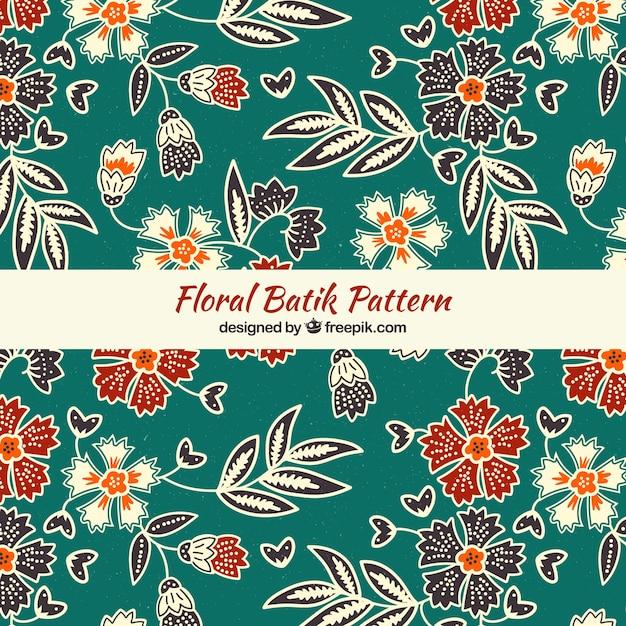 Elegante motivo floreale batik Vettore Premium