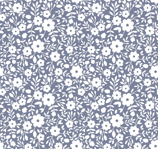 Elegante motivo floreale in piccoli fiori bianchi. sfondo senza soluzione di continuità per la stampa di moda. Vettore Premium