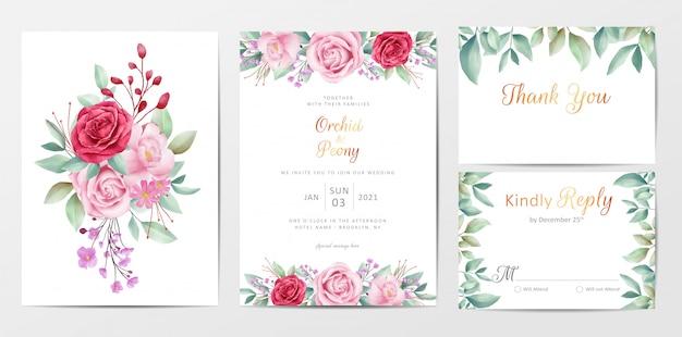 Il modello floreale elegante delle carte dell'invito di nozze ha messo con il mazzo dei fiori Vettore Premium