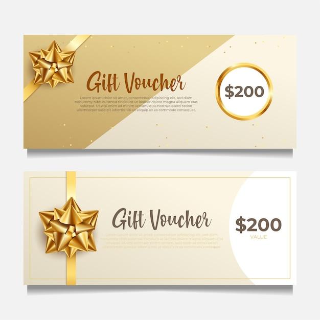 Elegante modello di buono regalo con stile dorato. Vettore Premium