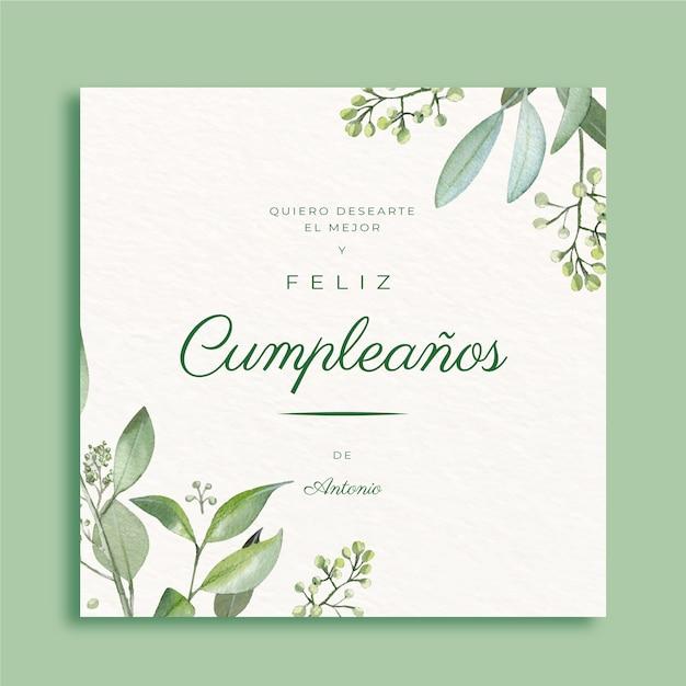 Elegante biglietto di auguri di buon compleanno Vettore Premium