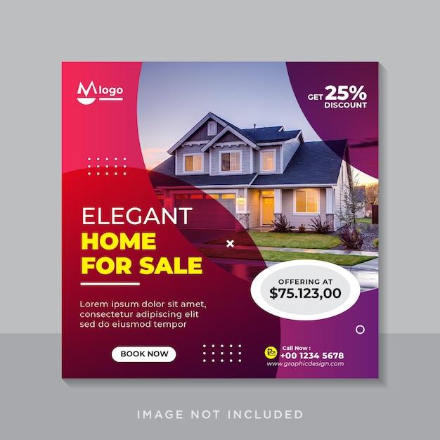 Elegante casa in vendita banner per social media o modello di volantino quadrato Vettore Premium