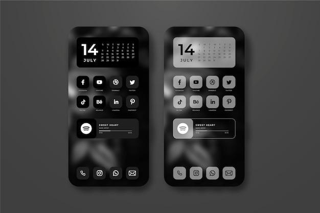 Elegante modello di schermata iniziale per smartphone Vettore Premium