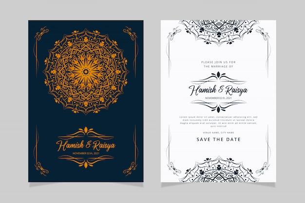 Design elegante modello di carta di invito matrimonio indiano Vettore Premium