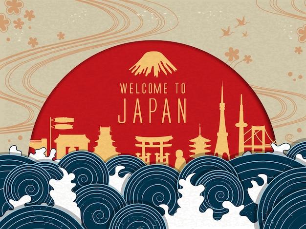 Elegante poster di viaggio in giappone con sole rosso e belle maree Vettore Premium