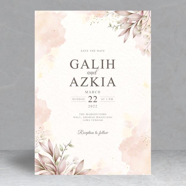 Modello di carta di invito matrimonio foglie eleganti Vettore Premium