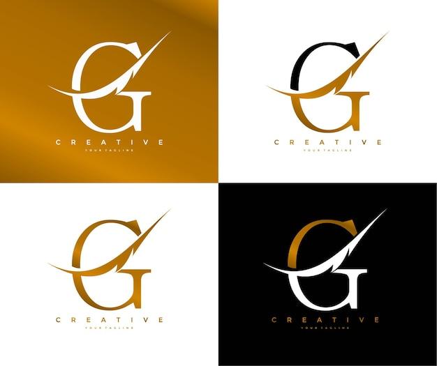 Elegante lettera g collegato swoosh simbolo piuma logo Vettore Premium