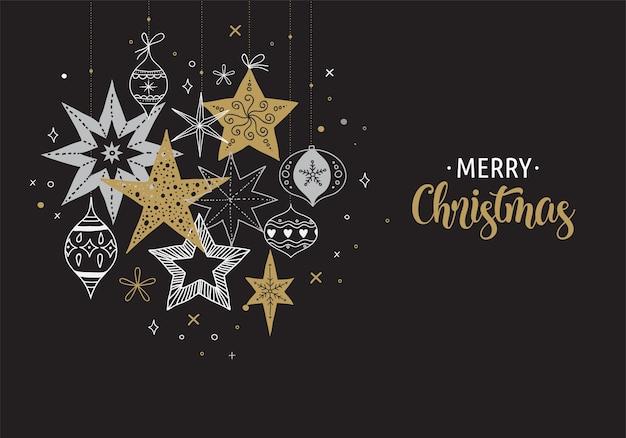 Elegante sfondo di buon natale, banner e biglietto di auguri, raccolta di fiocchi di neve e stelle Vettore Premium