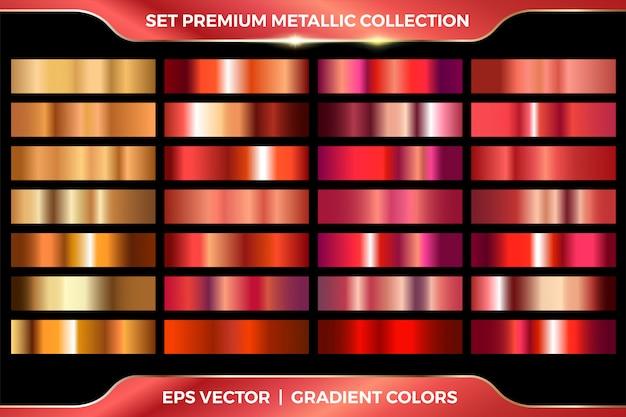 Elegante sfumatura metallica. lamina d'oro lucida, gradienti di medaglie di bronzo rosso. collezione in metallo rame rosa. Vettore Premium