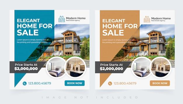 Insieme di modelli di posta sociale insta casa immobiliare moderna elegante Vettore Premium
