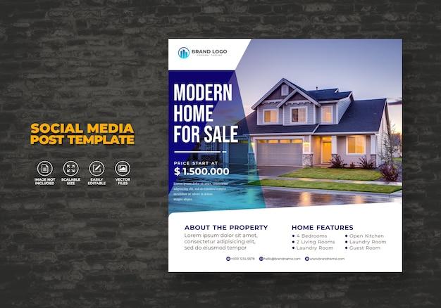 Elegante moderna casa immobiliare social media post modello proprietà Vettore Premium