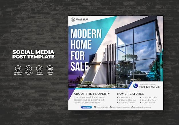 Elegante casa immobiliare moderna in vendita social media banner post & square flyer modello Vettore Premium