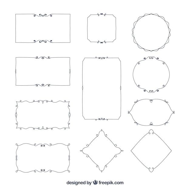 Confini ornamentali elegante set Vettore Premium