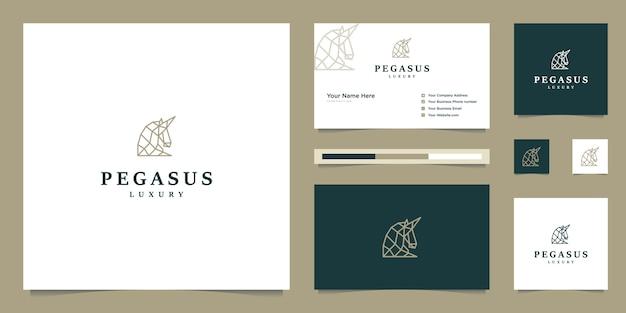 Elegante pegaso. cavallo premium minimalista. sagoma mitica in stile pegasus, ispirazione logo design premium. Vettore Premium