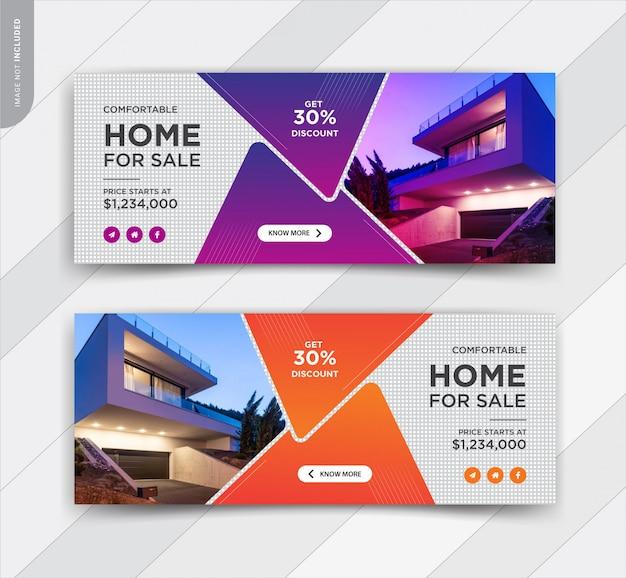 Design elegante modello di copertina facebook vendita immobiliare o casa Vettore Premium