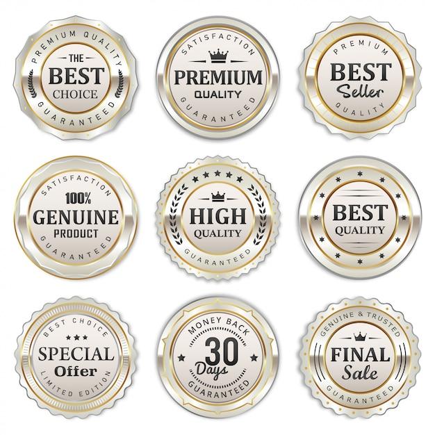 Elegante collezione di badge ed etichette in argento bianco Vettore Premium