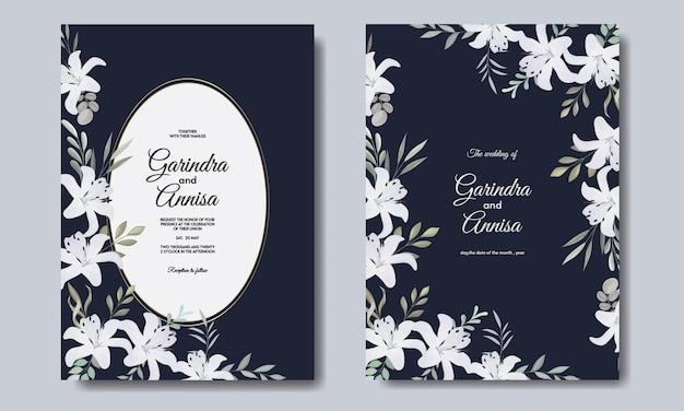 Modello di carta di invito matrimonio elegante con fiore bianco blu navy premium vektor Vettore Premium
