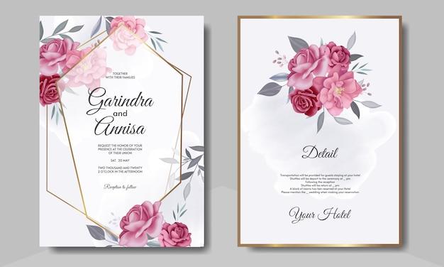 Carta di invito matrimonio elegante con bellissimo modello floreale e foglie Vettore Premium