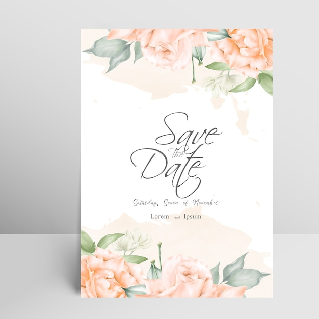 Carta di invito matrimonio elegante con schizzi floreali e acquerello Vettore Premium