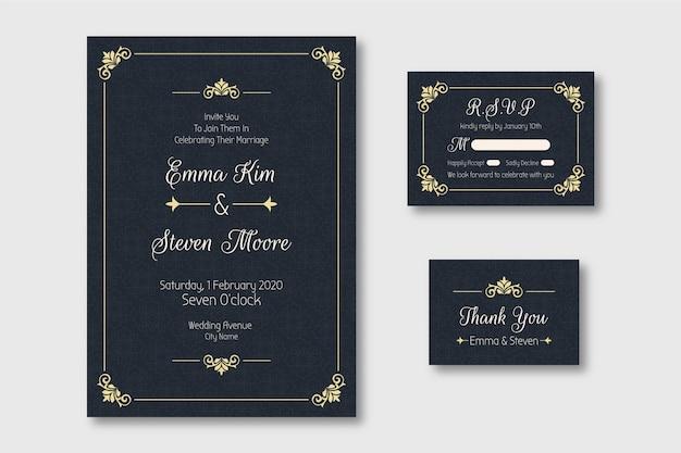 Modello di invito di matrimonio elegante Vettore Premium
