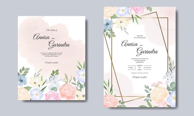 Modello di carta di inviti di nozze elegante con fiori colorati e foglie Vettore Premium