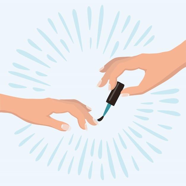 Mani delle donne eleganti che fanno una manicure che applica smalto rosso. concetto di bellezza. prodotti cosmetici, salone spa, cura del corpo. illustrazione . Vettore Premium