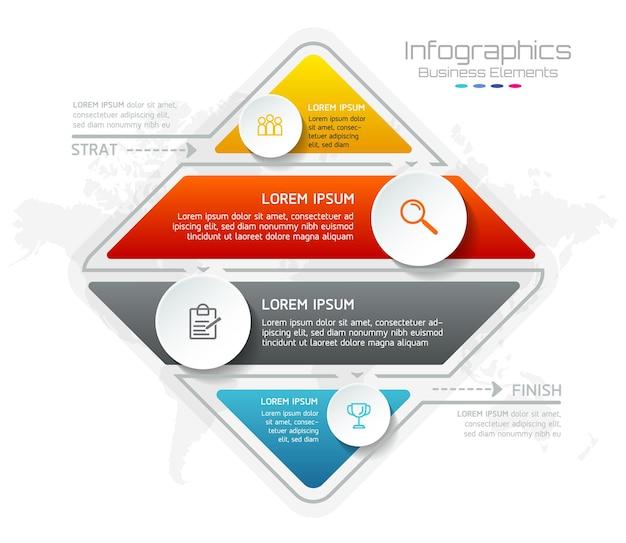 Elementi per infografica. presentazione e grafico. passaggi o processi. opzioni numero modello di flusso di lavoro design. 4 passaggi. Vettore Premium