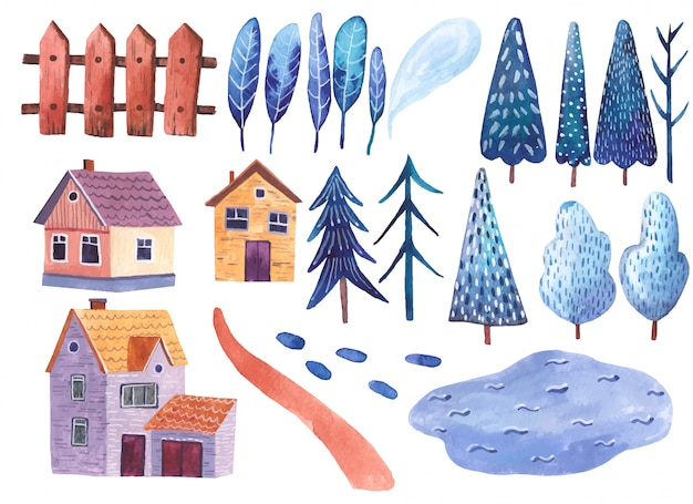 Elementi Dell Illustrazione Dell Acquerello Del Paesaggio Del Clipart Delle Montagne Della Strada Delle Case E Degli Alberi Su Fondo Bianco Vettore Premium