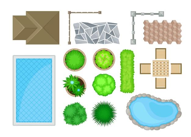 Elementi di progettazione del paesaggio Vettore Premium