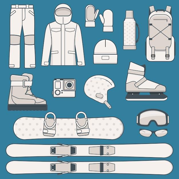 Elementi di sport e attività invernali. set di icone di attrezzature per sport invernali. illustrazione Vettore Premium