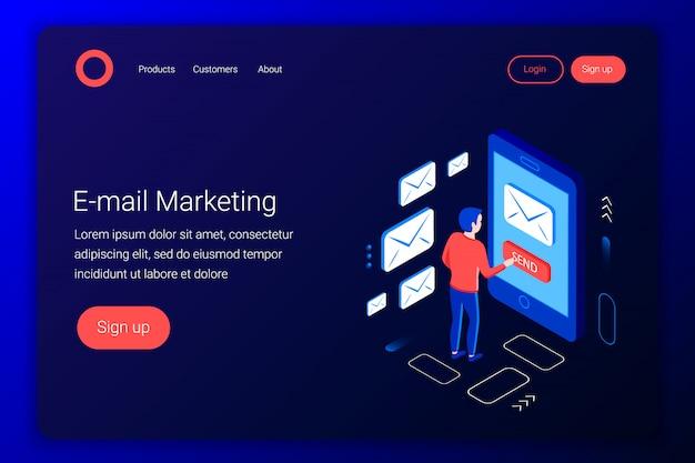 Concetto isometrico di email marketing. design della comunicazione. esperto di marketing invia e-mail. stile 3d piatto. modello di pagina di destinazione. illustrazione. Vettore Premium