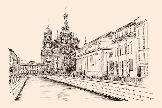 Strada argine di san pietroburgo con vista sul tempio e sugli edifici in stile classico. schizzo fatto a mano su fondo beige. Vettore Premium