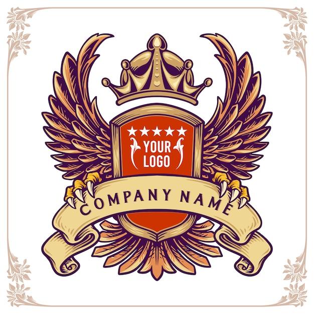 Emblema con ali, corona e nastro. distintivo elegante e brutale per le imprese Vettore Premium