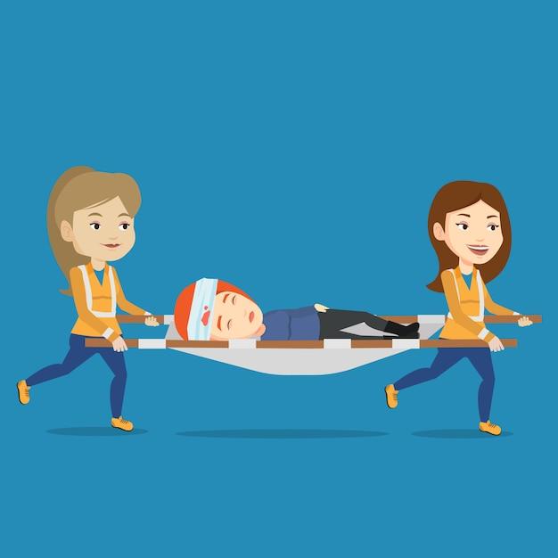 Medici di emergenza che trasportano donna sulla barella. Vettore Premium