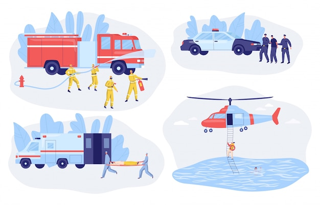 Polizia di servizio di emergenza, ambulanza, vigili del fuoco e illustrazione di vettore di salvataggio Vettore Premium