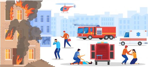 La gente di salvataggio di servizio di emergenza dalla casa bruciante distrutta, vittima di aiuto di medico, illustrazione Vettore Premium