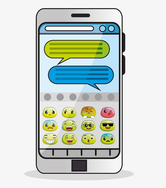 Notifica di messaggi emoji Vettore Premium